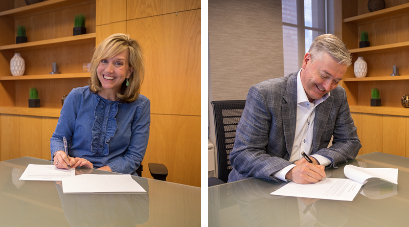 Beth Nigut and Todd Strother's signing pledges